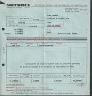 PORTUGAL FACTURE DE 1979 SOTARCI CIMENT A POVOA DE VARZIM  : - Portugal