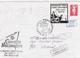 FRANCE LETTRE AFFRANCHIE AVEC LE TIMBRE DE GREVE TRANSPORT PRIVE CORSE CONTINENT GREVE POSTALE BASTIA 1995 AIR FRANCE - Strike Stamps