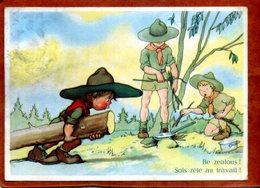 CPSM Humoristique Et Illustrée Sur Le  Scoutisme   Bon état (taches Sur La Droite) - Scoutisme