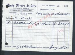 PORTUGAL GUIA DE REMESSA DE 1985 GUILHABREU  ALBERTO OLIVEIRA DA SILVA INDUSTRIAL DE PEDREIRAS CARRIÈRE DE PIERRE : - Portugal