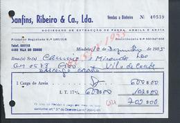 PORTUGAL FACTURE DE 1985 SANFINS RIBEIRO EXTRACÇAO DE PIERRE CARRIÈRE A MINDELO : - Portugal