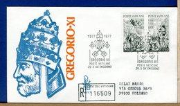 VATICANO  -  FDC  VENETIA - 1977  -  PAPA GREGORIO XI - RACCOMANDATA CON TIMBRO ARRIVO - FDC