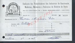 PORTUGAL FACTURE DE 1985 SINDICAT CONSTRUÇAO BOIS CARRIÈRE PIERRE A PORTO : - Portugal