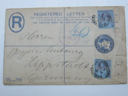 1896 , Perforation , Perfin ,registered  Cover To Germany - Great Britain