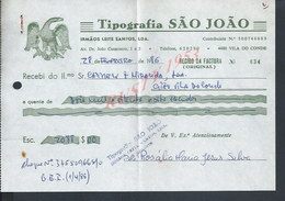 PORTUGAL FACTURE ILLUSTRÉE DE 1986 TIPOGRAPHIA SAO JOAO IRMAOS LEITE SANTOS A VILA DO CONDE : - Portugal