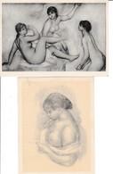 Lot 2 CPM   Nus Tableaux Renoir, Grandes Baigneuses, Jeune Fille Lisant  Non Circulées - Tableaux