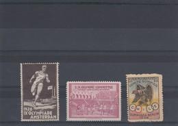 3 VIGNETTES. 1928 IX OLYMPIADE AMSTERDAM / US OLYMPIC COMMITEE / CENTAVOS COMITE OLIMPICO OLIMPIADA BERLIN 1936 - Commemorative Labels