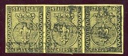 1852-PARMA- 5 C. GIALLO,STRISCIA DI 3   - USATI -LUXE ! - Parma