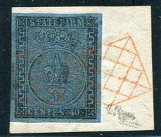 1852-PARMA- 40 C. AZZURRO   - USATO-LUXE ! - Parma