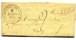 SAONE ET LOIRE De BEAUBERY LAC Du 07/03/1839 Boîte Rurale G + Dateur T 13 De ST BONNET DE JOUX+ Taxe De 2 Pour PERRECY - Marcophilie (Lettres)