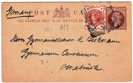 Entier Postal 1890 Finsbury London England Osnabrück Deutschland - Stamped Stationery, Airletters & Aerogrammes