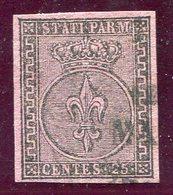 1852-PARMA- 25 C.VIOLETTO     - USATO-LUXE ! - Parma