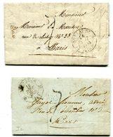 JURA De SAINT CLAUDE 2 LAC De 1833 Et 1835 Avec Dateur T 12 Et TFM De 7 Pour PARIS - Marcophilie (Lettres)
