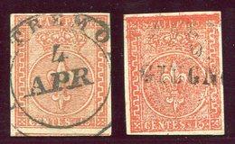 1852-PARMA- 15 C.VERMIGLIO  X 2    - USATI-LUXE ! - Parma