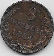 Guernesey - 8 Doubles - 1834 - TTB - Guernsey