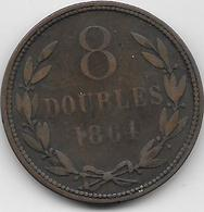 Guernesey - 8 Doubles - 1864 - TB - Guernsey