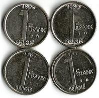 Lot 4 Pièces De Monnaie 1 Franc Belgique NLD - 02. 1 Franc