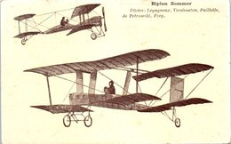 AVION - Aviateur - Biplan Sommer - Pilotes: Legagneux, Verstraeten, Paillette, De Petrowxki, Freg - Aviateurs