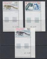TAAF 1984 Phoque Crabier +  Gorfou Sauteur 3v  (corner, Printing Date) ** Mnh (40894D) - Franse Zuidelijke En Antarctische Gebieden (TAAF)