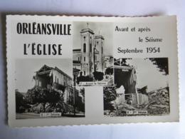 CPSM Algérie - Orléansville - L'église - Avant Et Après De Séisme - SEPTEMBRE 1954 - Otras Ciudades
