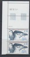 TAAF 1999 Manchot à Jugulaire 1v Pair (corner, Printing Date)  ** Mnh (40894J) - Franse Zuidelijke En Antarctische Gebieden (TAAF)