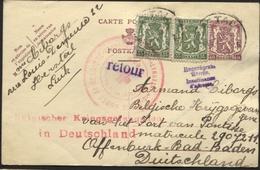 Entier CP De HERSTAL Vers Un Prisonnier Belge En All. Via CROIX-ROUGE RED CROSS De Liège 10/7/40+retour (gd Pli De Coin) - Guerra 40 – 45