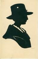 Silhouette Buste De Femme Au Chapeau Découpée  Cpa - Femmes