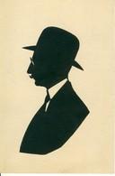 Silhouette Buste D'Homme Au Chapeau Avec Lunettes Découpée  Cpa - Hommes