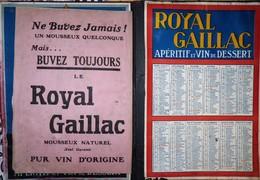 PUBLICITÉ CARTON GRAND DEPLIANT  PLUSIEUR PAGES + CALENDRIER 1925 ROYAL GAILLAC   4 Pages Intérieure Bon Etat , - Calendars