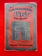 ITINÉRAIRE MÉTROPOLITAIN METRO Ancienne Carte Plan Réseau Monumental PARIS & Environs-Schémas De Lignes-A.LECONTE Edit. - Europe