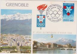 38 Grenoble Carte Jeux Olympiques  22 Avril 1967 Premier Jour - Autres