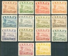 NAURU 1937-48 Century Freughter Set (14v), VF MNH & MLH, MiNr 15II-28II, SG 26B-39B; C.v.€120 - Nauru