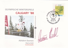 Canada Cover 1988 Calgary Olympic Winter Games - Abfahrt Damen M Kiehl Gold Signature  (G95-9) - Winter 1988: Calgary