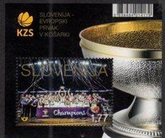 SLOVENIA, 2017, MNH, BASKETBALL , EUROPEAN CHAMPIONS IN BASKETBALL, S/SHEET - Basket-ball