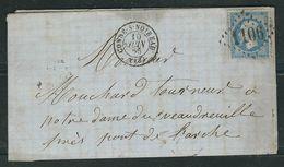 FRANCE 1865 N° 22 S/Lettre Obl. GC 1106 Conde S/Noireau - 1862 Napoleon III