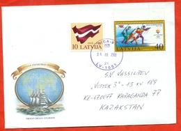 Latvia 2002. Flag/Olimpiada. The Envelope Actually Passed The Mail. - Latvia