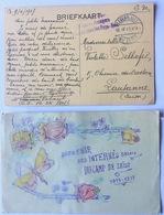 2 WWI Postcards Souvenir Des Internés Belges Du Camp De Zeist (dessin) FRANC DE PORT Militaires étrangers Dsles Pays-Bas - Brieven En Documenten