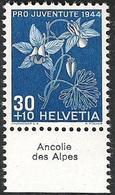 """Schweiz Suisse Svizzera: Pro Juventute 1944 Zu 112 Mi 442 Yv 402 ** MNH & Tab Français """"Ancolie Des Alpes"""" (CHF 10.00) - Other"""