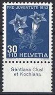 """Schweiz Suisse : Pro Juventute 1943 Zu 108 Mi 427 Yv 391 ** MNH + Tab Latinum """"Gentiana Clusii Et Kochiana"""" (CHF 10.00) - Other"""