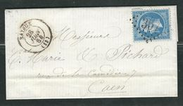 FRANCE 1864 N° 22 S/Lettre Obl. GC 357 Bayeux - 1862 Napoleon III