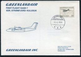 1979 Greenland SAS First Flight Cover. Stromfjord - Kulusuk, Slania Aircraft Parachutes - Greenland