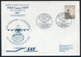 1979 Greenland SAS First Flight Cover. Polar Stromfjord - Copenhagen Denmark - Greenland