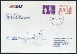 1988 Greenland SAS First Flight Cover. Thule - Copenhagen Denmark, Slania - Greenland