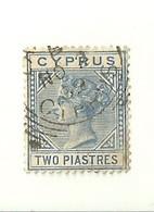"""1425 """" CYPRUS - 1881 - TWO PIASTRES- QUEEN VICTORIA """"  FRANCOBOLLO  ORIG.LINGUELLATO - Non Classificati"""