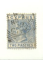 "1425 "" CYPRUS - 1881 - TWO PIASTRES- QUEEN VICTORIA ""  FRANCOBOLLO  ORIG.LINGUELLATO - Cipro"