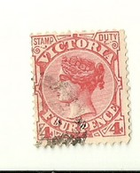 """1427 """"  VICTORIA - FOUR PENCE -1886-1898-QUEEN VICTORIA-STAMP DUTY """"  FRANCOBOLLO  ORIG. LINGUELLATO - Francobolli"""