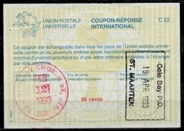 Cole Bay ST. MAARTEN ( Carribean Netherlands ) As Redemption Postmark On USA Intern. Reply Coupon Reponse Antwortschein - Antillen
