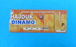 HAJDUK V DINAMO - 2007/08. Croatia Premier League Football Match Ticket Soccer Fussball Billet Kroatien Croazia Croatie - Match Tickets