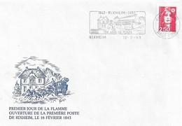 150 Ans De Poste Rixheim (68, Alsace) - Enveloppe & Entier Postal - 16.02.1993 - Voir Descriptif. 4 SCANS. - FDC