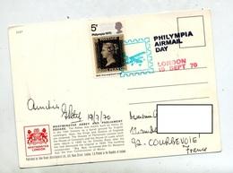 Carte Cachet Londres Philympia Airmail Day Vue Westminster - Marcophilie - EMA (Empreintes Machines)